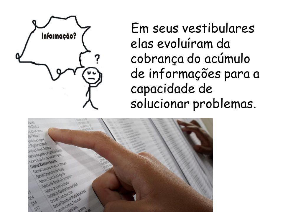 Em seus vestibulares elas evoluíram da cobrança do acúmulo de informações para a capacidade de solucionar problemas.