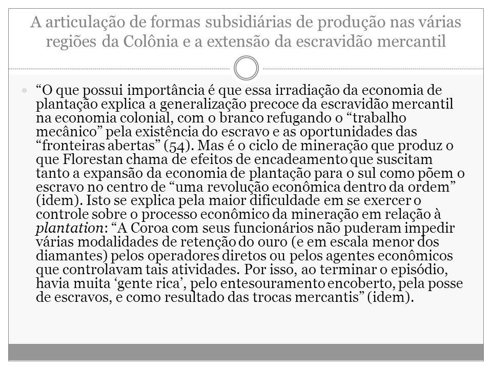 """A articulação de formas subsidiárias de produção nas várias regiões da Colônia e a extensão da escravidão mercantil """"O que possui importância é que es"""