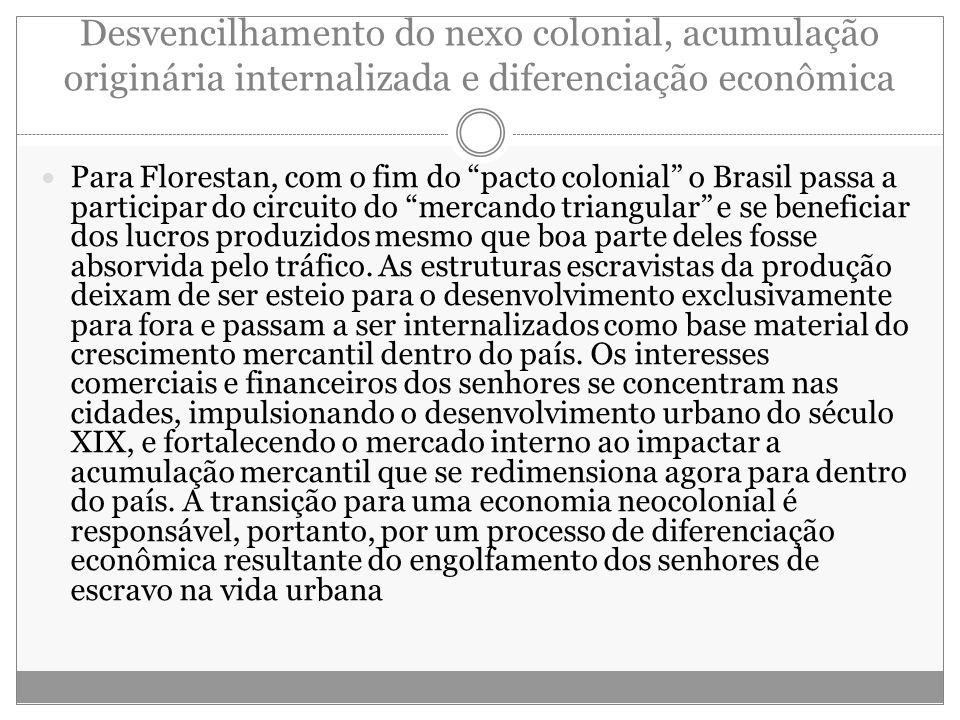 """Desvencilhamento do nexo colonial, acumulação originária internalizada e diferenciação econômica Para Florestan, com o fim do """"pacto colonial"""" o Brasi"""