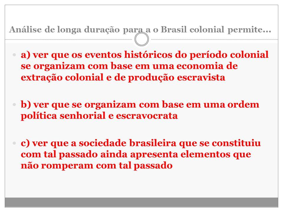 Análise de longa duração para a o Brasil colonial permite... a) ver que os eventos históricos do período colonial se organizam com base em uma economi