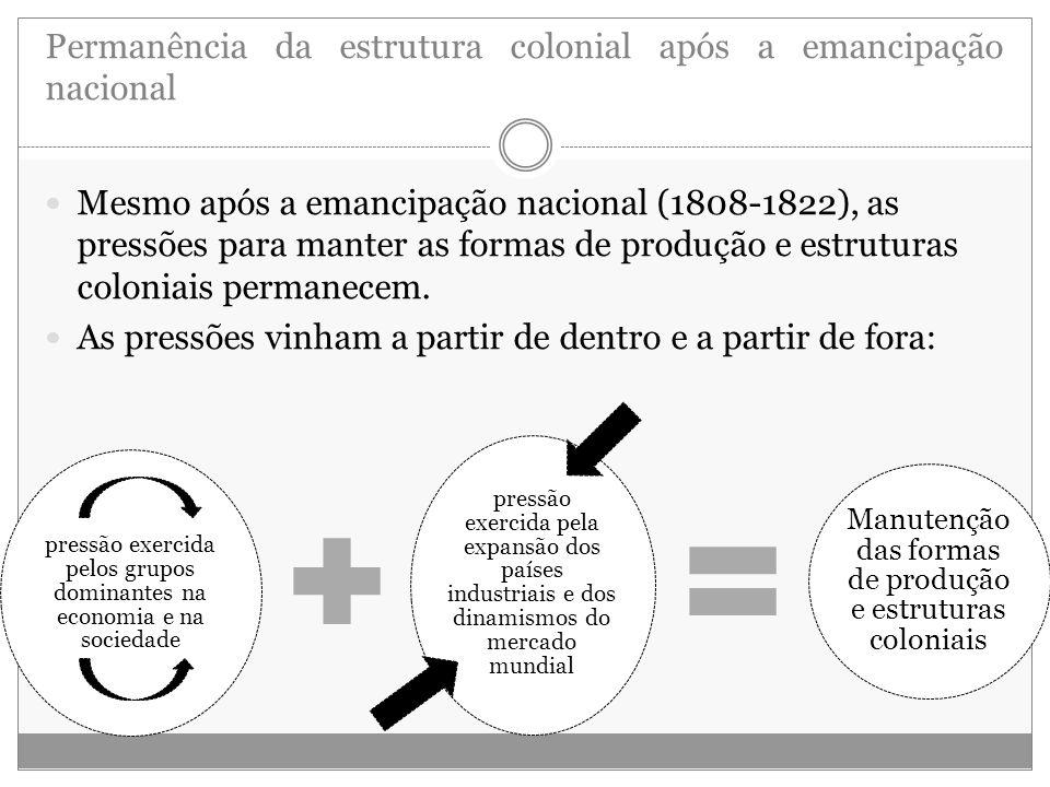 Permanência da estrutura colonial após a emancipação nacional Mesmo após a emancipação nacional (1808-1822), as pressões para manter as formas de prod