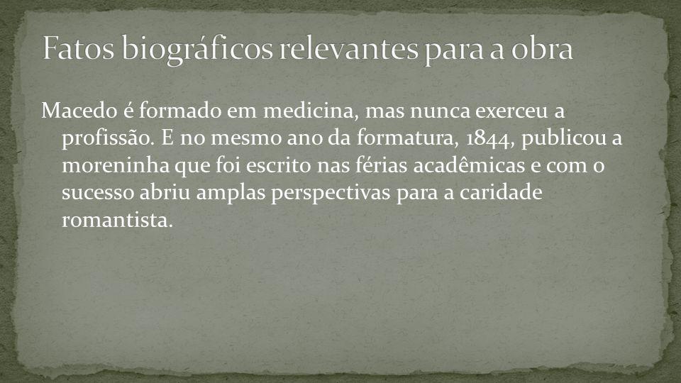 Macedo é formado em medicina, mas nunca exerceu a profissão. E no mesmo ano da formatura, 1844, publicou a moreninha que foi escrito nas férias acadêm