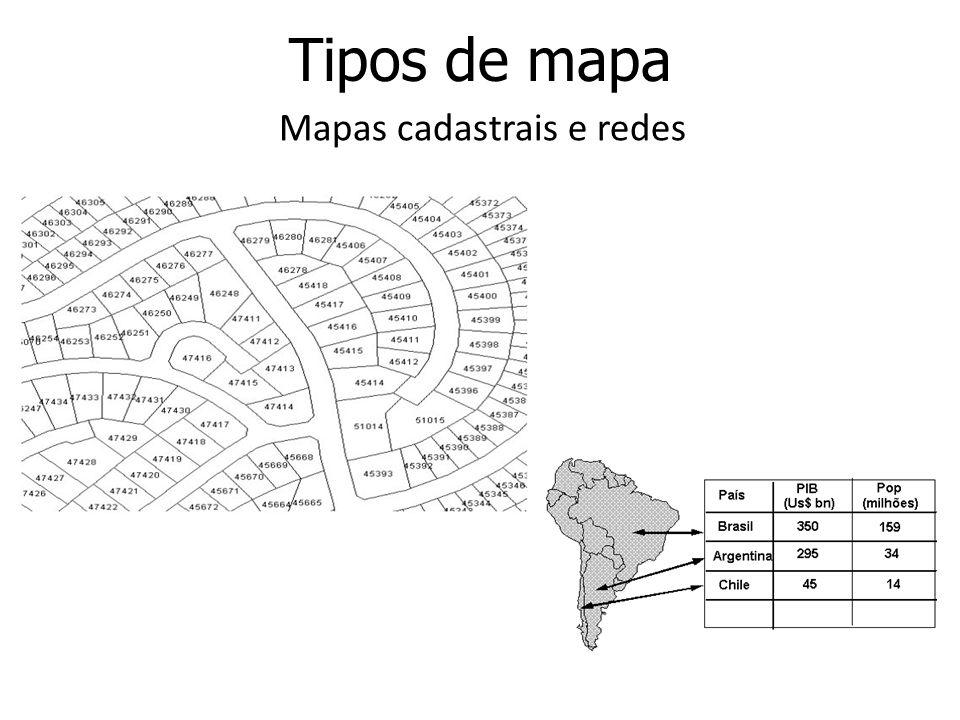 Tipos de mapa Mapas cadastrais e redes