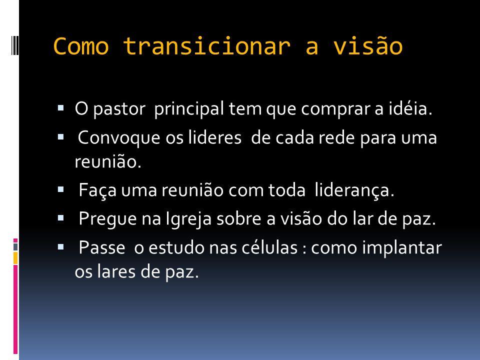 Como transicionar a visão  O pastor principal tem que comprar a idéia.