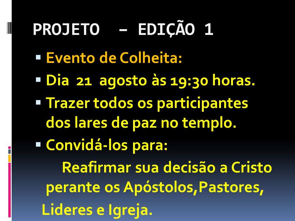 PROJETO – EDIÇÃO 1  Evento de Colheita:  Dia 21 agosto às 19:30 horas.