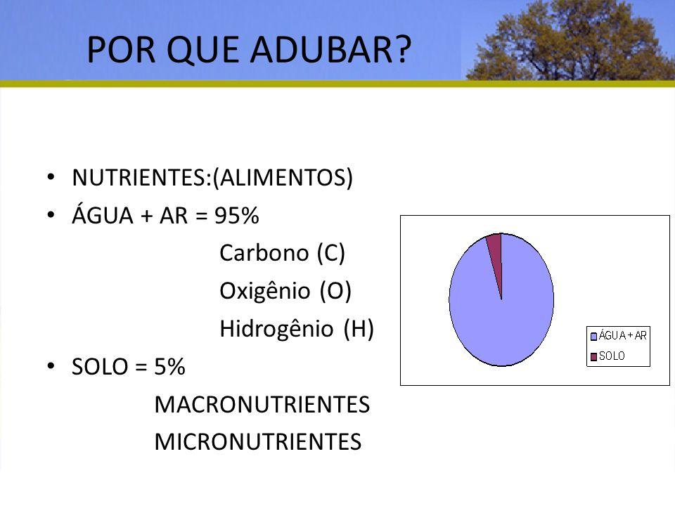 POR QUE ADUBAR? NUTRIENTES:(ALIMENTOS) ÁGUA + AR = 95% Carbono (C) Oxigênio (O) Hidrogênio (H) SOLO = 5% MACRONUTRIENTES MICRONUTRIENTES PROJETO ÁGUA