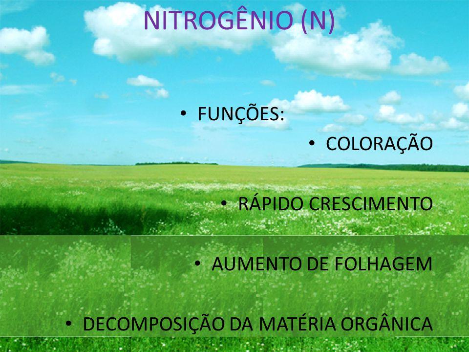 NITROGÊNIO (N) FUNÇÕES: COLORAÇÃO RÁPIDO CRESCIMENTO AUMENTO DE FOLHAGEM DECOMPOSIÇÃO DA MATÉRIA ORGÂNICA