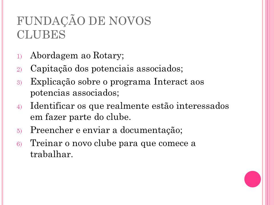 FUNDAÇÃO DE NOVOS CLUBES 1) Abordagem ao Rotary; 2) Capitação dos potenciais associados; 3) Explicação sobre o programa Interact aos potencias associa