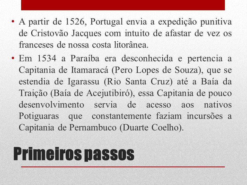 Primeiros passos A partir de 1526, Portugal envia a expedição punitiva de Cristovão Jacques com intuito de afastar de vez os franceses de nossa costa