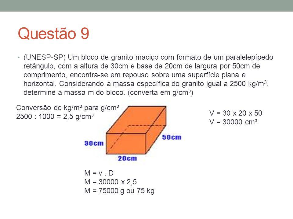 Questão 9 (UNESP-SP) Um bloco de granito maciço com formato de um paralelepípedo retângulo, com a altura de 30cm e base de 20cm de largura por 50cm de