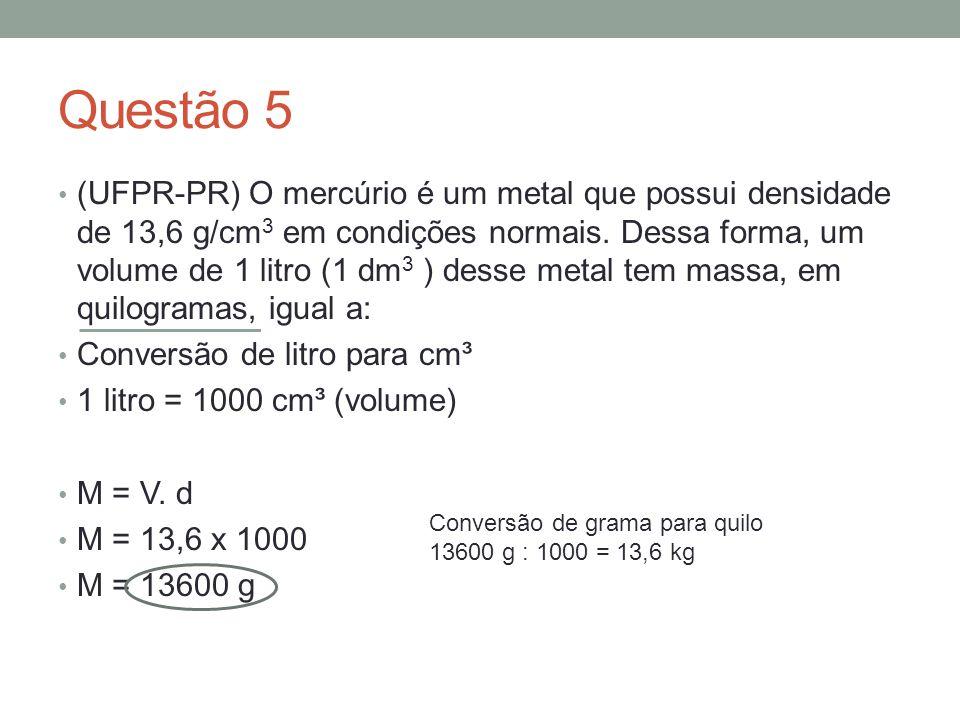 Questão 6 (UFB) Uma esfera oca de alumínio tem massa de 50g e volume de 30cm 3.