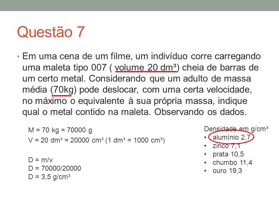 Questão 7 Em uma cena de um filme, um indivíduo corre carregando uma maleta tipo 007 ( volume 20 dm³) cheia de barras de um certo metal. Considerando
