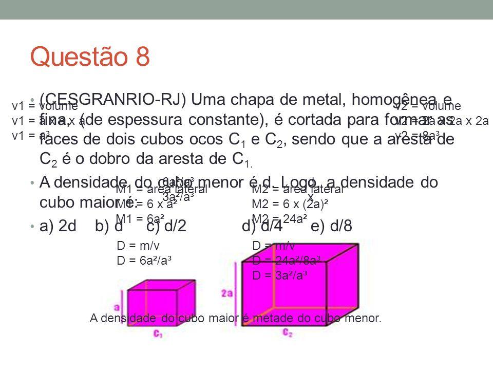 Questão 9 (UNESP-SP) Um bloco de granito maciço com formato de um paralelepípedo retângulo, com a altura de 30cm e base de 20cm de largura por 50cm de comprimento, encontra-se em repouso sobre uma superfície plana e horizontal.