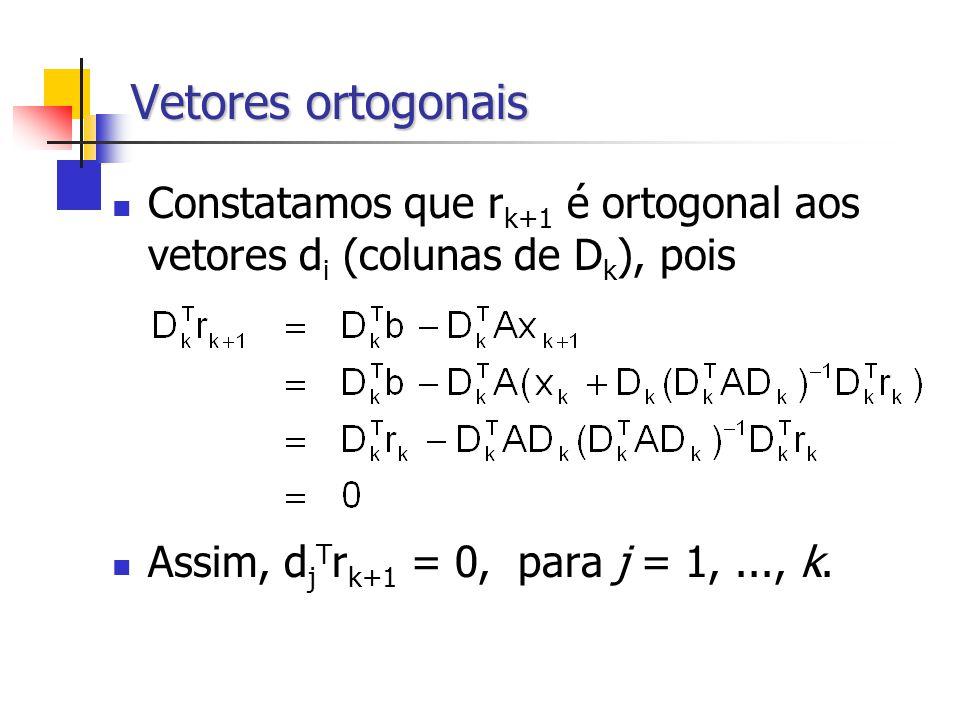 Vetores ortogonais Constatamos que r k+1 é ortogonal aos vetores d i (colunas de D k ), pois Assim, d j T r k+1 = 0, para j = 1,..., k.