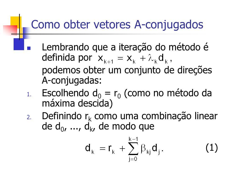 Como obter vetores A-conjugados Lembrando que a iteração do método é definida por podemos obter um conjunto de direções A-conjugadas: 1. Escolhendo d