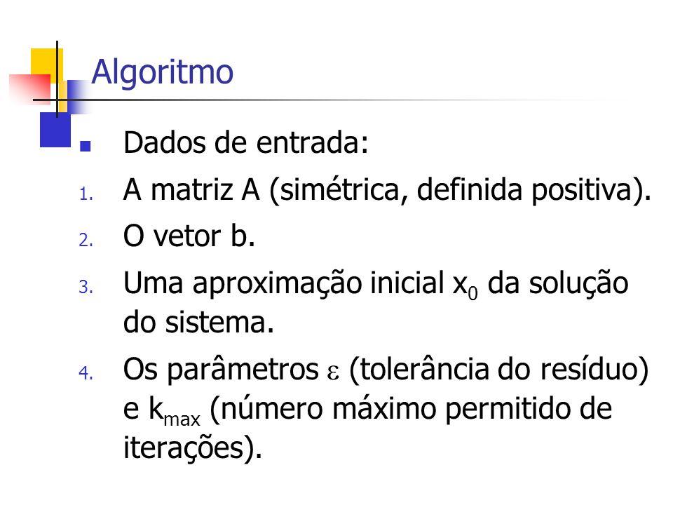 Algoritmo Dados de entrada: 1. A matriz A (simétrica, definida positiva). 2. O vetor b. 3. Uma aproximação inicial x 0 da solução do sistema. 4. Os pa