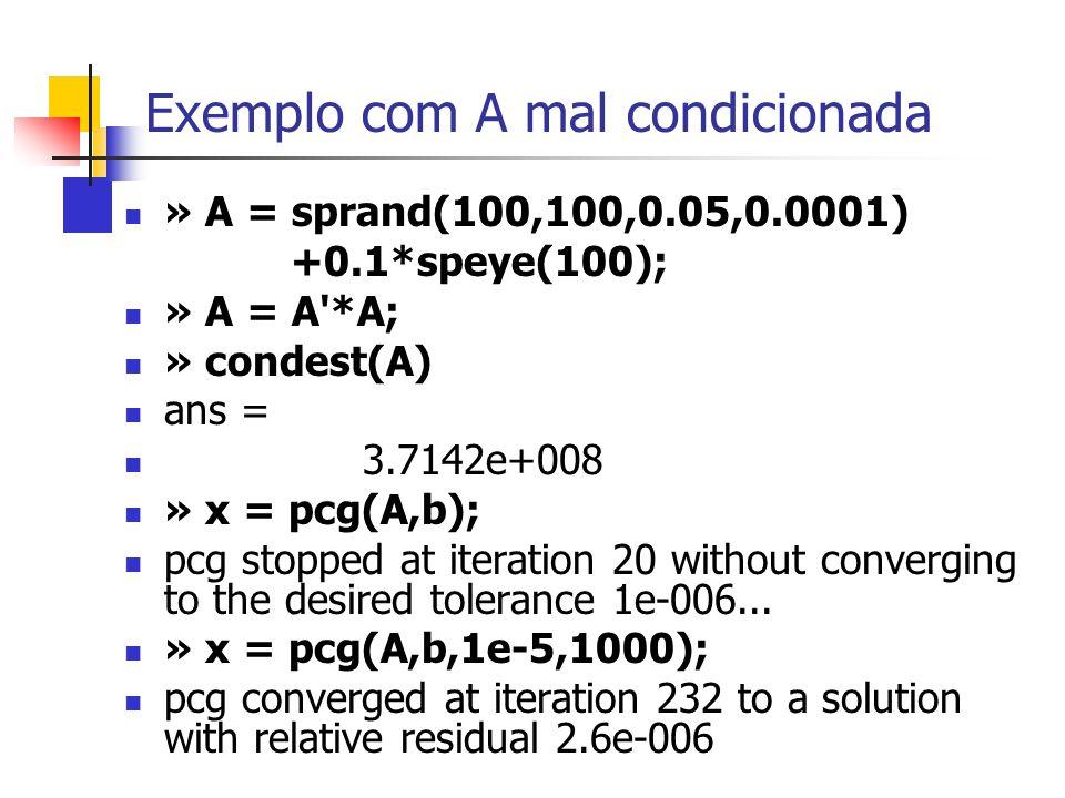 Exemplo com A mal condicionada » A = sprand(100,100,0.05,0.0001) +0.1*speye(100); » A = A'*A; » condest(A) ans = 3.7142e+008 » x = pcg(A,b); pcg stopp