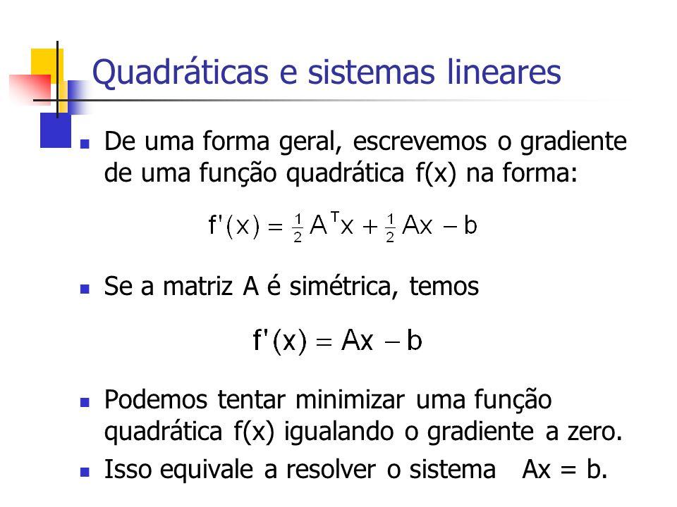Quadráticas e sistemas lineares De uma forma geral, escrevemos o gradiente de uma função quadrática f(x) na forma: Se a matriz A é simétrica, temos Po