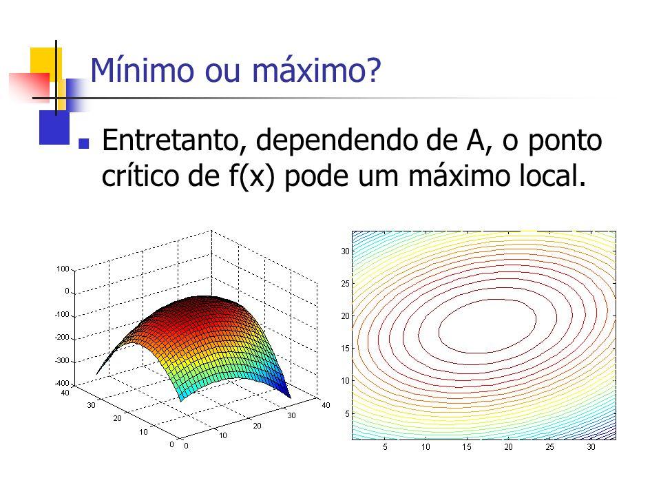 Mínimo ou máximo? Entretanto, dependendo de A, o ponto crítico de f(x) pode um máximo local.