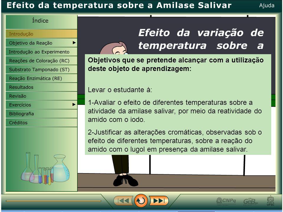 Objetivos que se pretende alcançar com a utilização deste objeto de aprendizagem: Levar o estudante à: 1-Avaliar o efeito de diferentes temperaturas sobre a atividade da amilase salivar, por meio da reatividade do amido com o iodo.