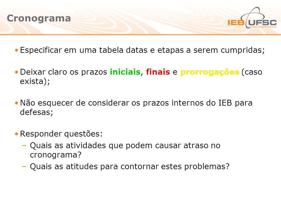 Cronograma Especificar em uma tabela datas e etapas a serem cumpridas; Deixar claro os prazos iniciais, finais e prorrogações (caso exista); Não esque