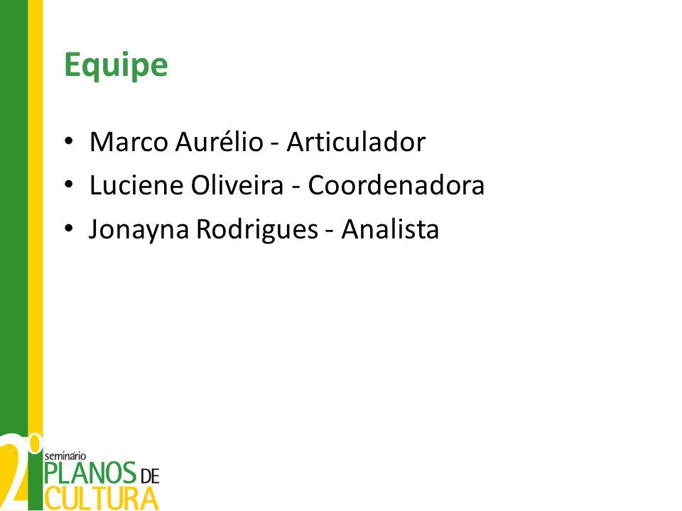 Equipe Marco Aurélio - Articulador Luciene Oliveira - Coordenadora Jonayna Rodrigues - Analista