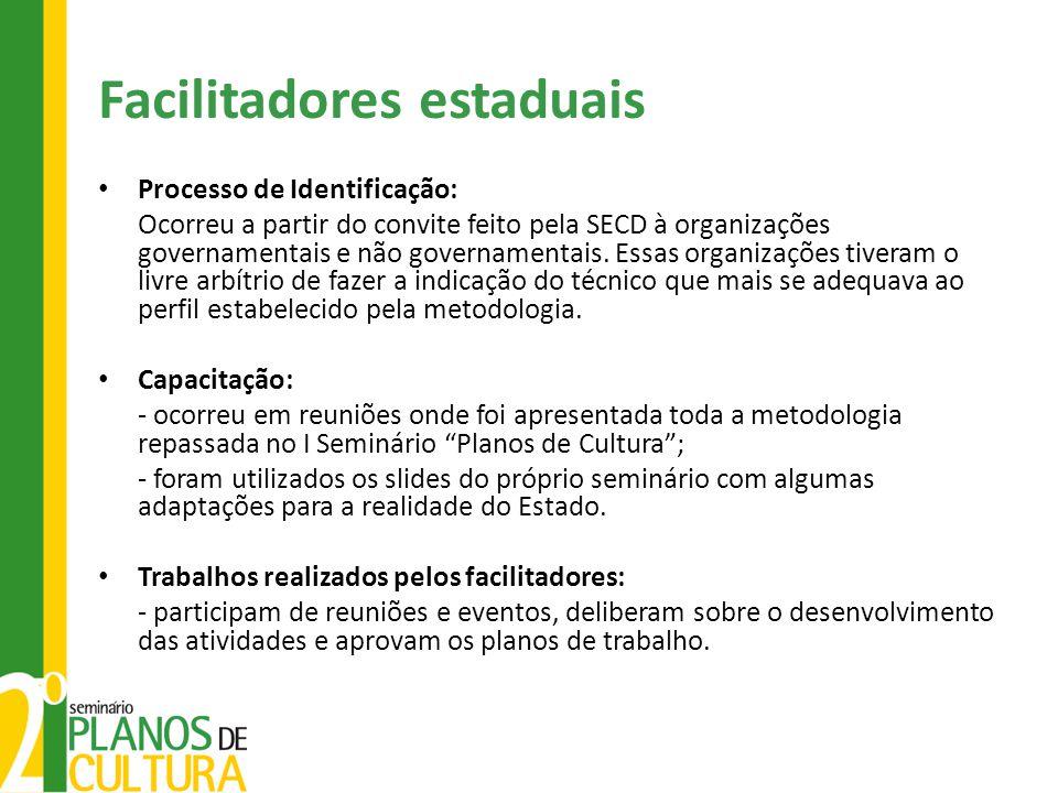 Facilitadores estaduais Processo de Identificação: Ocorreu a partir do convite feito pela SECD à organizações governamentais e não governamentais. Ess