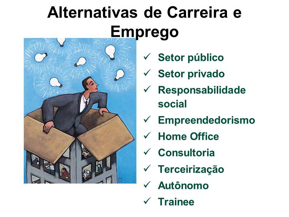 Setor público Setor privado Responsabilidade social Empreendedorismo Home Office Consultoria Terceirização Autônomo Trainee Alternativas de Carreira e