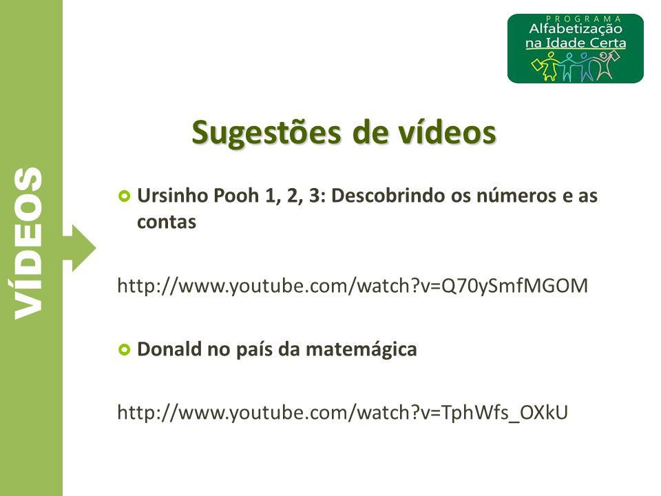 VÍDEOS Sugestões de vídeos  Ursinho Pooh 1, 2, 3: Descobrindo os números e as contas http://www.youtube.com/watch?v=Q70ySmfMGOM  Donald no país da m