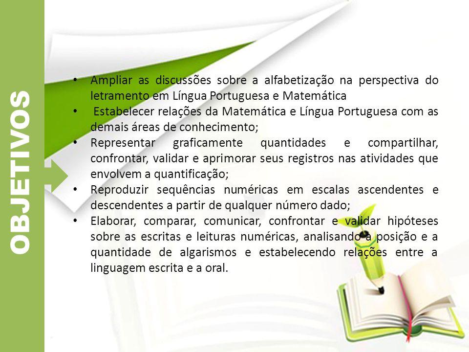Ampliar as discussões sobre a alfabetização na perspectiva do letramento em Língua Portuguesa e Matemática Estabelecer relações da Matemática e Língua
