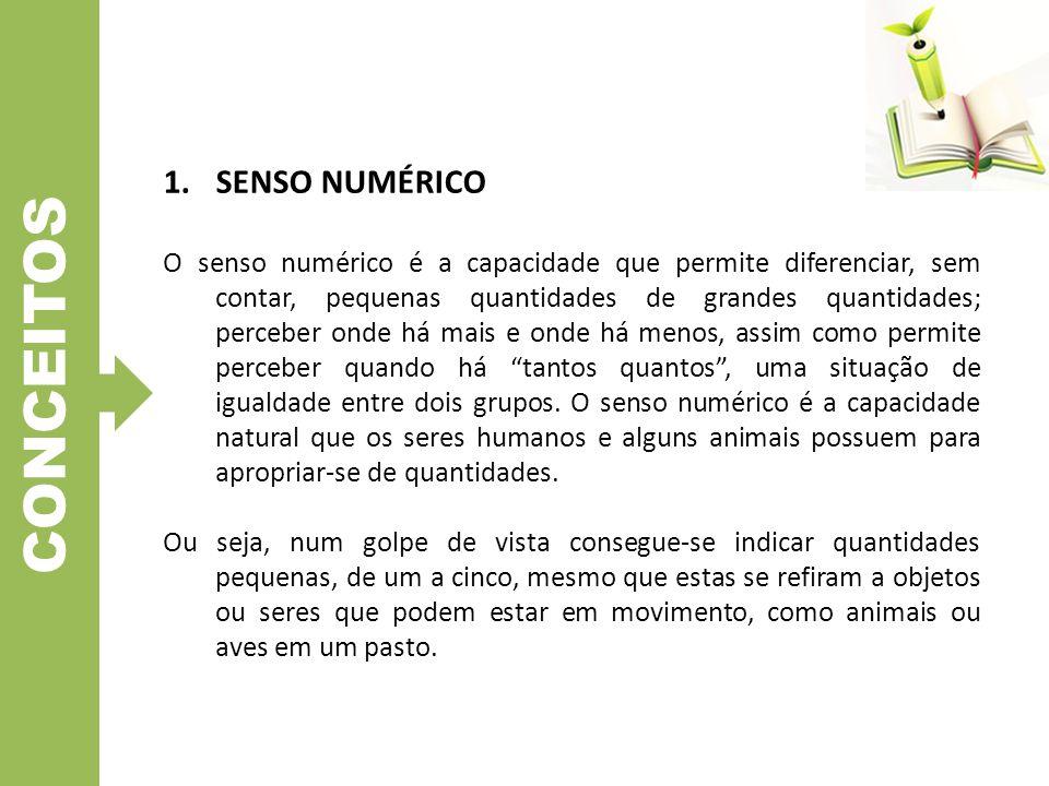 CONCEITOS 1.SENSO NUMÉRICO O senso numérico é a capacidade que permite diferenciar, sem contar, pequenas quantidades de grandes quantidades; perceber