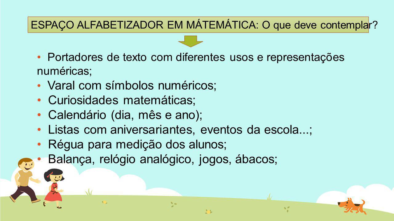 ESPAÇO ALFABETIZADOR EM MÁTEMÁTICA: O que deve contemplar? Portadores de texto com diferentes usos e representações numéricas; Varal com símbolos numé
