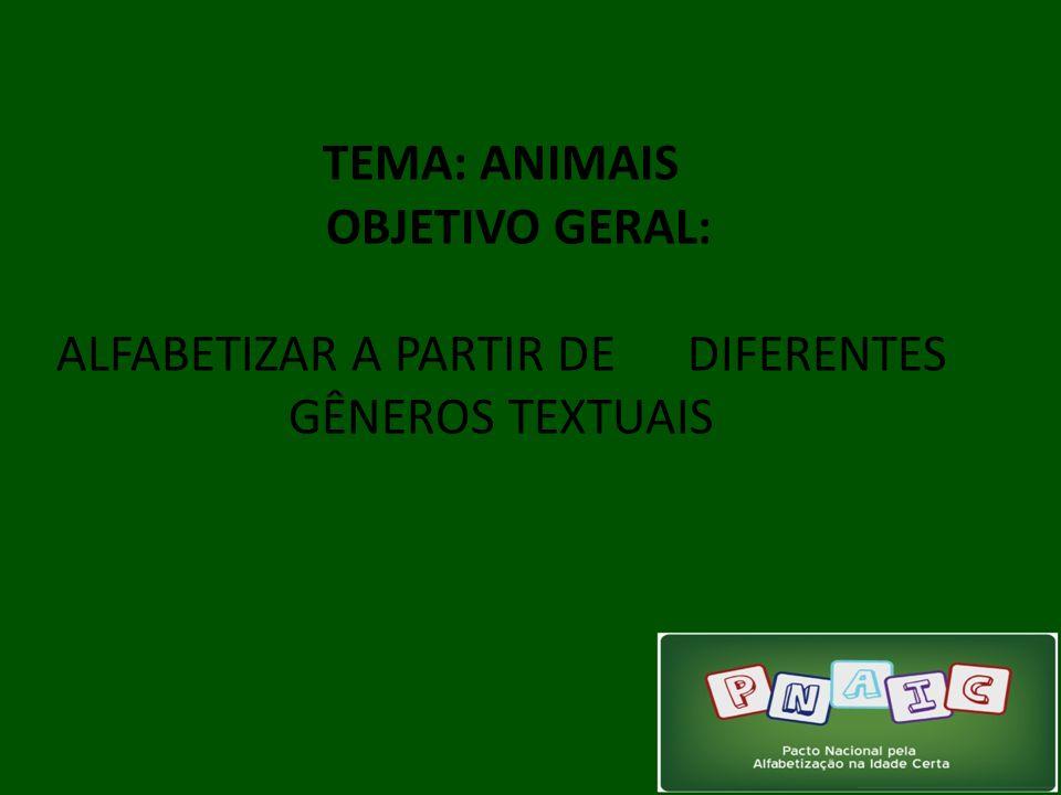 TEMA: ANIMAIS OBJETIVO GERAL: ALFABETIZAR A PARTIR DE DIFERENTES GÊNEROS TEXTUAIS