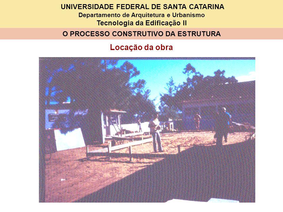 UNIVERSIDADE FEDERAL DE SANTA CATARINA Departamento de Arquitetura e Urbanismo Tecnologia da Edificação II O PROCESSO CONSTRUTIVO DA ESTRUTURA Locação da obra