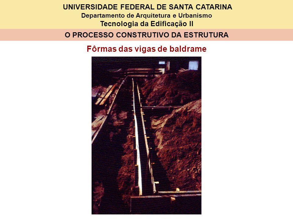 UNIVERSIDADE FEDERAL DE SANTA CATARINA Departamento de Arquitetura e Urbanismo Tecnologia da Edificação II O PROCESSO CONSTRUTIVO DA ESTRUTURA Fôrmas