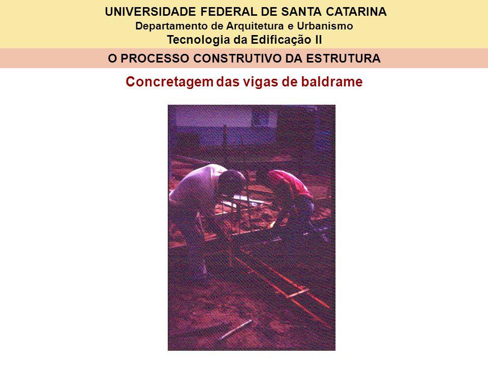 UNIVERSIDADE FEDERAL DE SANTA CATARINA Departamento de Arquitetura e Urbanismo Tecnologia da Edificação II O PROCESSO CONSTRUTIVO DA ESTRUTURA Concret