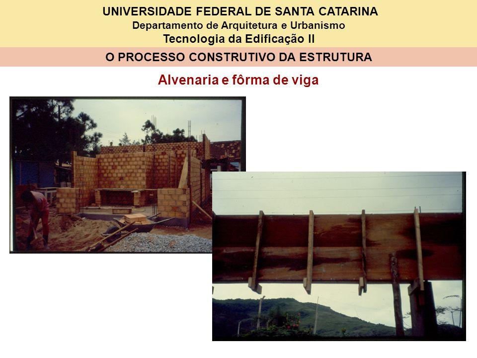 UNIVERSIDADE FEDERAL DE SANTA CATARINA Departamento de Arquitetura e Urbanismo Tecnologia da Edificação II O PROCESSO CONSTRUTIVO DA ESTRUTURA Alvenaria e fôrma de viga