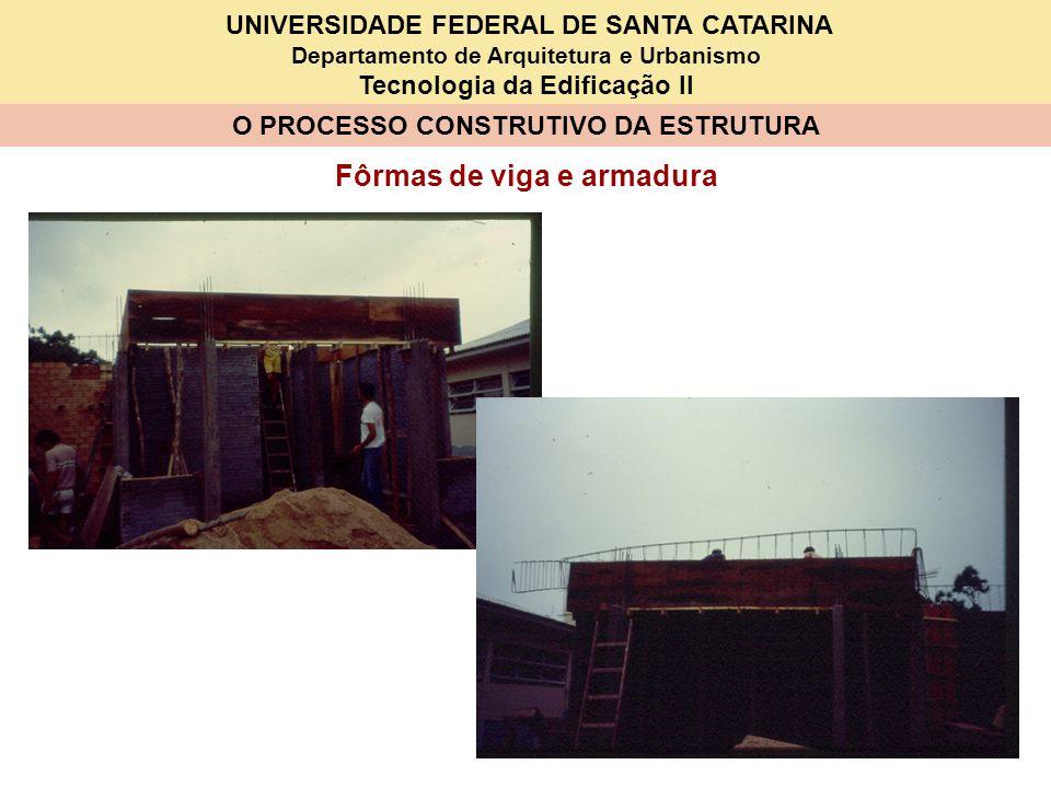 UNIVERSIDADE FEDERAL DE SANTA CATARINA Departamento de Arquitetura e Urbanismo Tecnologia da Edificação II O PROCESSO CONSTRUTIVO DA ESTRUTURA Fôrmas de viga e armadura