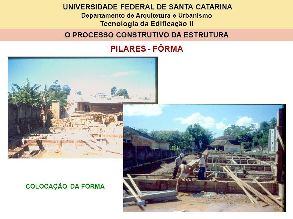 UNIVERSIDADE FEDERAL DE SANTA CATARINA Departamento de Arquitetura e Urbanismo Tecnologia da Edificação II O PROCESSO CONSTRUTIVO DA ESTRUTURA PILARES - FÔRMA COLOCAÇÃO DA FÔRMA