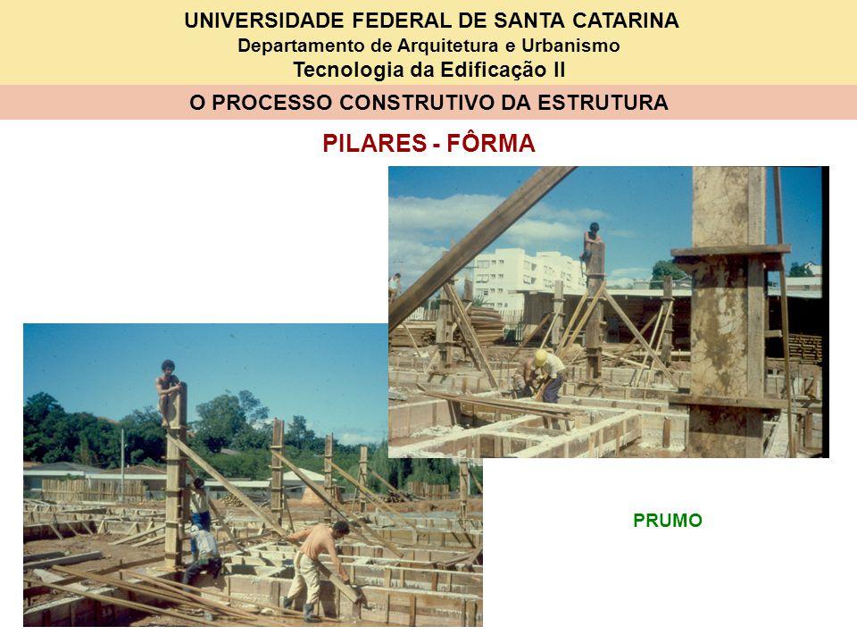 UNIVERSIDADE FEDERAL DE SANTA CATARINA Departamento de Arquitetura e Urbanismo Tecnologia da Edificação II O PROCESSO CONSTRUTIVO DA ESTRUTURA PILARES - FÔRMA PRUMO
