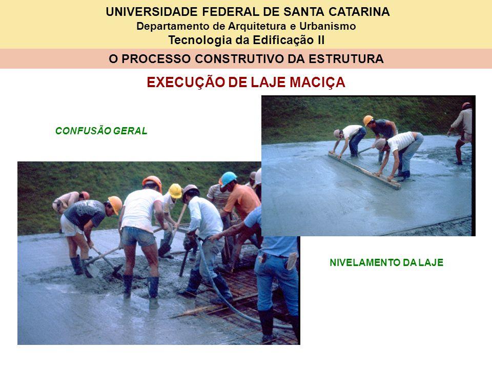 UNIVERSIDADE FEDERAL DE SANTA CATARINA Departamento de Arquitetura e Urbanismo Tecnologia da Edificação II O PROCESSO CONSTRUTIVO DA ESTRUTURA EXECUÇÃ