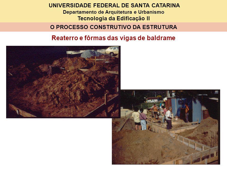 UNIVERSIDADE FEDERAL DE SANTA CATARINA Departamento de Arquitetura e Urbanismo Tecnologia da Edificação II O PROCESSO CONSTRUTIVO DA ESTRUTURA Fôrmas das vigas de baldrame