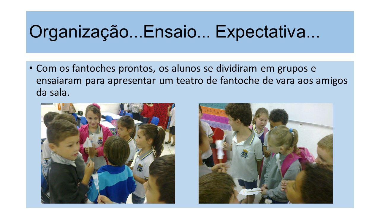 Organização...Ensaio... Expectativa... Com os fantoches prontos, os alunos se dividiram em grupos e ensaiaram para apresentar um teatro de fantoche de