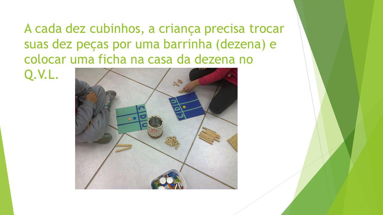 A cada dez cubinhos, a criança precisa trocar suas dez peças por uma barrinha (dezena) e colocar uma ficha na casa da dezena no Q.V.L.