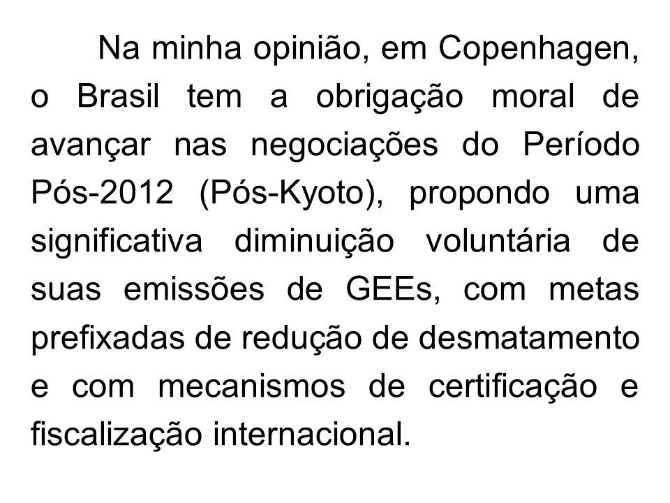 Na minha opinião, em Copenhagen, o Brasil tem a obrigação moral de avançar nas negociações do Período Pós-2012 (Pós-Kyoto), propondo uma significativa diminuição voluntária de suas emissões de GEEs, com metas prefixadas de redução de desmatamento e com mecanismos de certificação e fiscalização internacional.