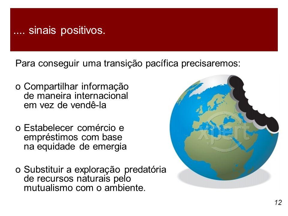 12 Para conseguir uma transição pacífica precisaremos: oCompartilhar informação de maneira internacional em vez de vendê-la oEstabelecer comércio e empréstimos com base na equidade de emergia oSubstituir a exploração predatória de recursos naturais pelo mutualismo com o ambiente.....