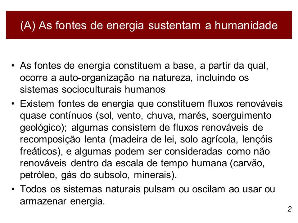 2 (A) As fontes de energia sustentam a humanidade As fontes de energia constituem a base, a partir da qual, ocorre a auto-organização na natureza, inc