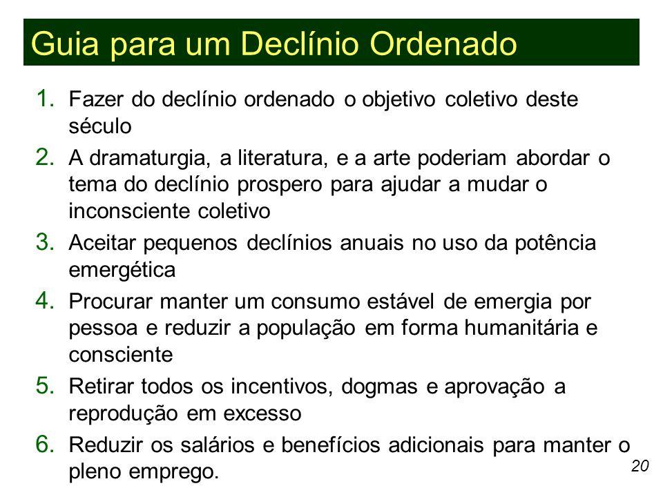20 1.Fazer do declínio ordenado o objetivo coletivo deste século 2.
