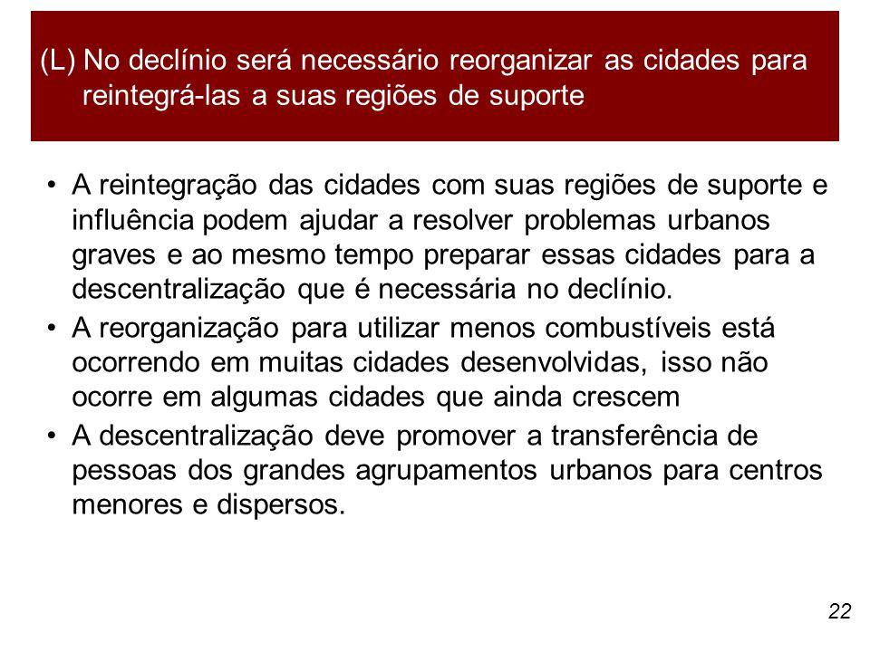 22 A reintegração das cidades com suas regiões de suporte e influência podem ajudar a resolver problemas urbanos graves e ao mesmo tempo preparar essas cidades para a descentralização que é necessária no declínio.