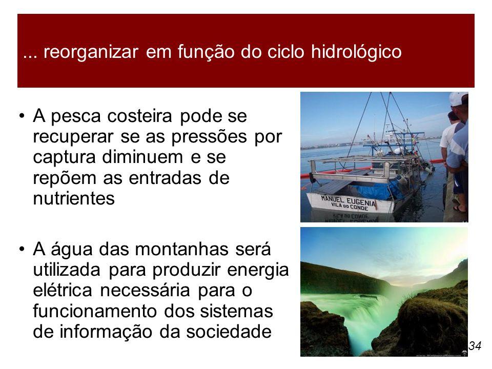 34 A pesca costeira pode se recuperar se as pressões por captura diminuem e se repõem as entradas de nutrientes A água das montanhas será utilizada pa